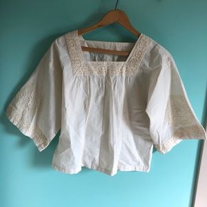 VTG 70s Embroidered Lace Boho Top